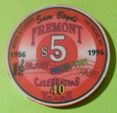 1996 Fremont Hotel Casino Las Vegas, Nevada Hard To Find $5.00 Gaming Chip 1996!