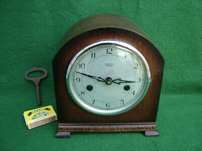 COMPACT 1930's SMITHS ENFIELD STRIKING MANTLE CLOCK OAK CASED GOOD WORKING ORDER