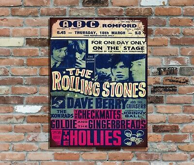 "THE ROLLING STONES (2)10x8"" Retro Metal Concert Poster Sign plaque Wall Art (2)"