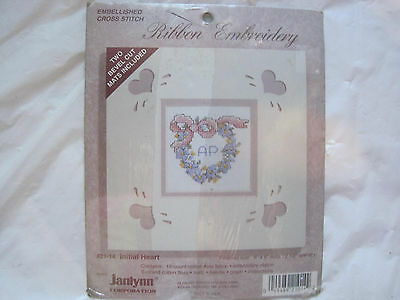 Heart Ribbon Embroidery Kit Janlynn #21-14~NEW w/2 Bevel Cut Mats~LBDAL