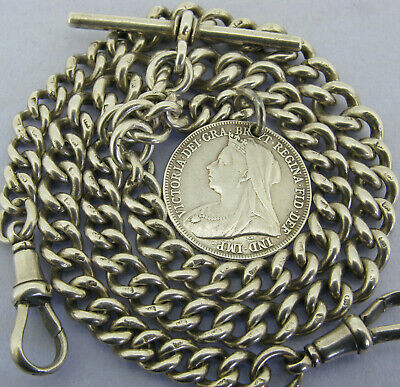 Antique Solid Silver Double Albert Watch Chain T-Bar & Coin Fob Bir 1909 17 Inch