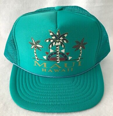 1dca22b5f3e48 Maui Hawaii Trucker Snap Back Hat Cap Teal Vintage 80s 90s Surf Beach Nissin