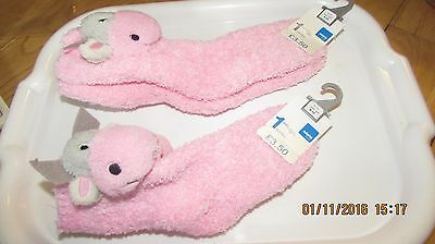 FLUFFY FUN SOCKS WITH COW HEAD TO ANKLE, Adams girl's wear, new