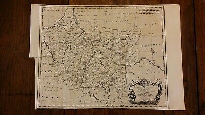 1745 Antique Original Map Of Germany South West - Emmanual Bowen - Copper Plate