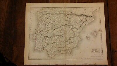 1830 Original Large Antique Map Of Spain & Portugal - Sidney Hall