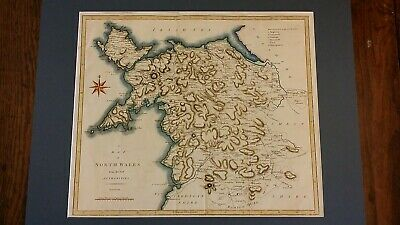 1789 Antique Map Of North Wales - John Cary - Camden's Britannia - Copper Plate