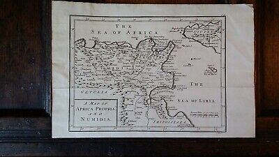 1745 Antique Original Map Of Africa Propria And Numidia - Isaac Basire