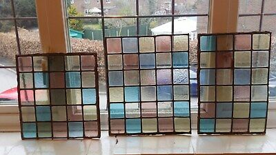 3X Antique Stained Glass Leaded Windows - Reclaimed / Salvage