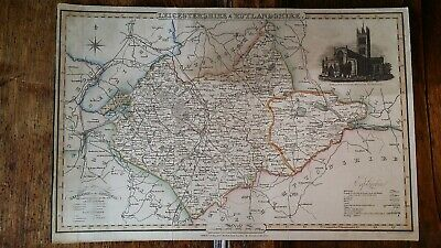 1830'S James Pigot County Map Of Leicestershire & Rutlandshire - Hand Tinted