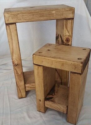 Hand Made Solid Wood Chunky Rustic Side/Lamp/Nesting/Bedside Tables