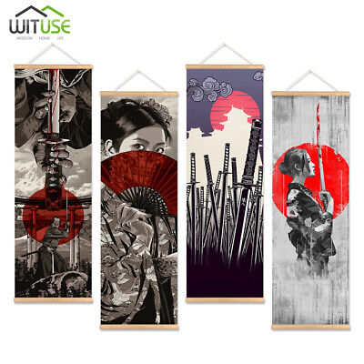 Japanese Samurai Wall Art Picture Hanging Scroll Painting With Wooden Hanger E3