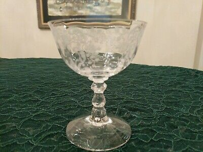 Lovely Antique Fostoria Meadow Rose Etched Sherbet/Champagne Glass 4 1/2'