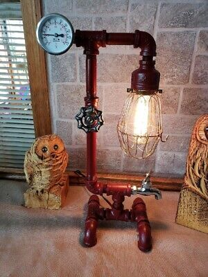 Rustic handcrafted Industrial Pipe Retro steampunk style table,desk lamp