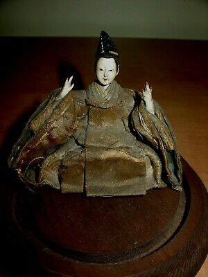 Antique Hina Edo Period 19th Century Doll Over 100 Years Old In Glass Dome