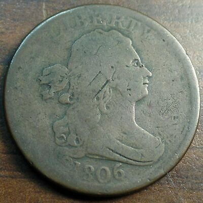 1806 Draped Bust Half Cent ~ Small 6 Stemless