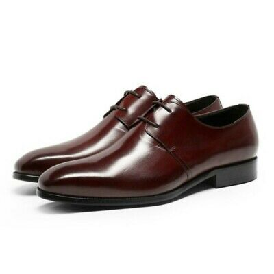 Business Leisure Mens Square Toe Real Leather Retro Formal Block Oxfords Shoes