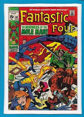 """Fantastic Four #89_August 1969_Vg_""""the Madness Of The Mole Man""""_Silver Age!"""