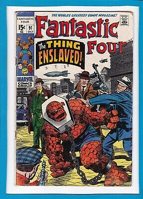 """Fantastic Four #91_Oct 1969_Very Good+_""""the Thing Enslaved""""_Silver Age Marvel!"""