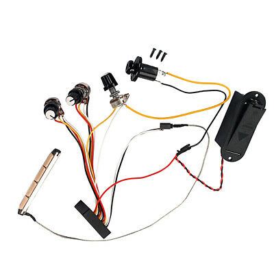 3 Band EQ Preamp Circuit Active Piezo Pickup Wiring Harness for Bass Guitar