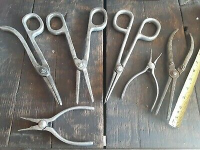 """6 Aluminum Safety Press Pliers,  (4) ~10"""" (2) ~6"""" USED"""