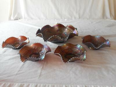 Northwood Carnival Glass GRAPE AND CABLE Master Berry Bowl 4 Dessert Bowls