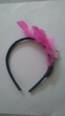 Blue headband fasinator with pink feathers/flamingo