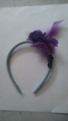 Purple headband  fasinator with feathers