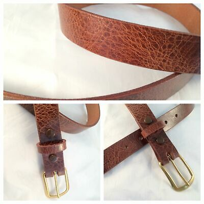 1 in. Antiqued Brown Leather  Mid-Century Vintage Style Belt w/Snap on Buckle