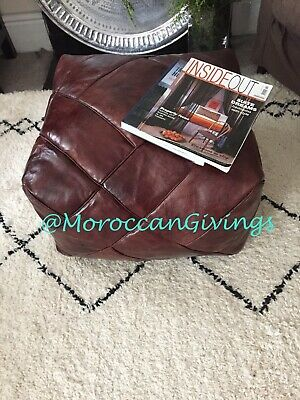 Moroccan Genuine Handcrafted 100% Leather Pouffe /  Hand Stitched Square Pouffe