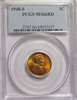 1948-S Lincoln Wheat Cent Pcgs Ms66Rd Mint Red Blazer. #10053437