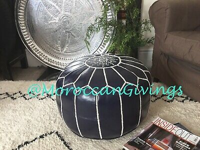 100% Leather Handcrafted Moroccan Pouffe / Floor Cushions / Ottoman/ Dark Purple