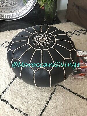 100% Leather Handcrafted Moroccan Pouffe / Floor Cushions / Dark Marlin Blue