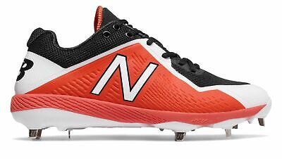 New Balance Low-Cut 4040v4 Metal Baseball Cleat Mens Shoes Black with Orange