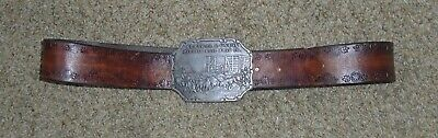 Vintage Central & Union Pacific Railroad Co. Leather Tooled Belt & Buckle