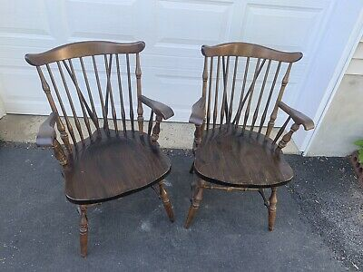Antique Bennington Collection Winooski Vermont Brace Back Windsor Arm Chairs (2)