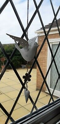 "Decorative Metal White Dove Of Peace On Spring Window Hanger 12""."