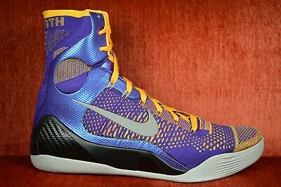 buy online 297c0 5d351 WORN TWICE NIKE KOBE IX 9 ELITE TEAM LAKERS SHOWTIME 630847-500 Size 13