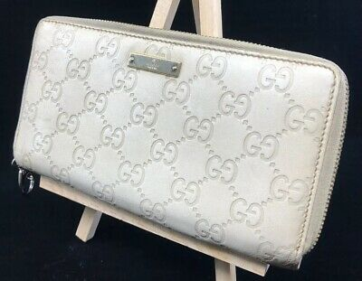 2734c3abbbcc GUCCI GUCCISSIMA IVORY Leather Zip Around Long Wallet - $129.99 ...
