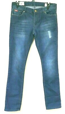 71069ca1 Lee Cooper Avril Womens Sz 8 Blue Faded Distressed Mid Rise Straight Denim  Jeans