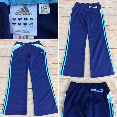 Adidas Womens Size M Wide Leg Athletic Pants Navy Blue White Stripe Yoga Workout