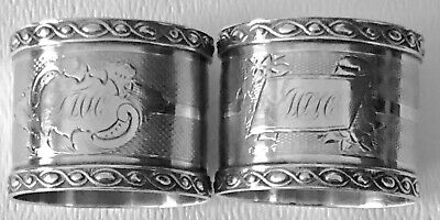 Antique Sterling Silver Coin Engine Turned Matching Pair His &Her Napkin Ring X2