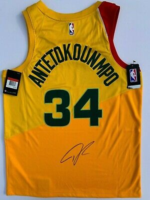 e0a53f73 Giannis Antetokounmpo Signed Nike Bucks City Edition Basketball Jersey  Psa/Dna !