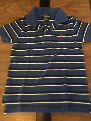 Ralph Lauren Boys Polo Shirt Size 4/4T Blue Striped GUC
