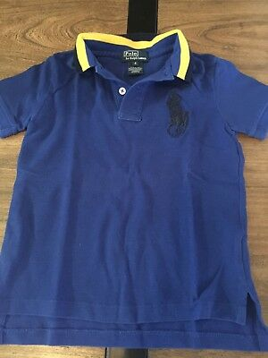 Ralph Lauren Boys Polo Shirt Blue Yellow Size 4 GUC