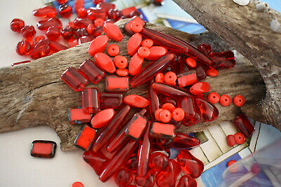 100pc Czech Glass Beads - Red Mix Bulk - Rnd, Fluted, Facetted, Flat