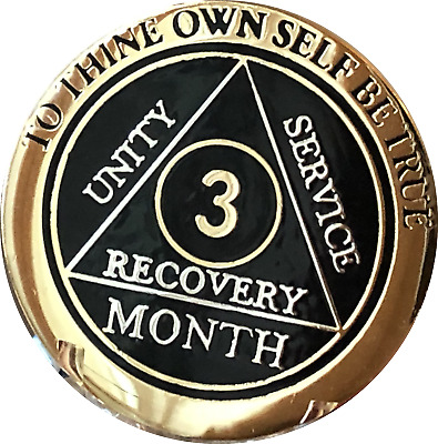 3 Month AA Medallion Elegant Black Gold & Silver Plated Sobriety Chip Coin