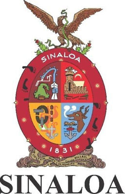 2 (PCS) Sinaloa Mexico. Coat Of Arms Decals Stickers Full Color/Weather Proof