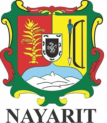 2 (PCS) Nayarit  Mexico. Coat Of Arms Decals Stickers Full Color/Weather Proof