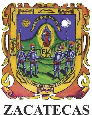 2 (PCS) Zacatecas  Mexico. Coat Of Arms Decals Stickers Full Color/Weather Proof