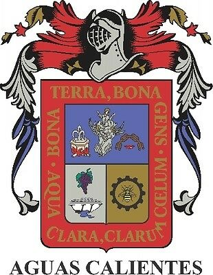 2 (PCS) Aguascalientes  Mexico. Coat Of Arms Decals  Full Color/Weather Proof
